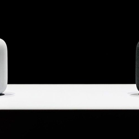 homepod, white and black